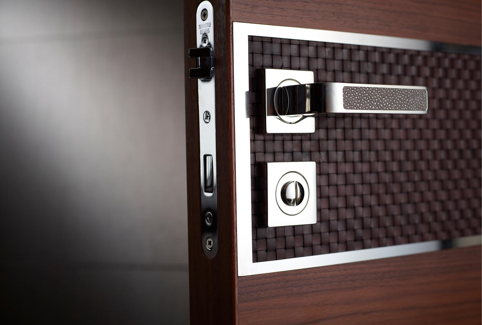 FAUX LEATHER CUSTOM DOOR LEVER AND LOCK